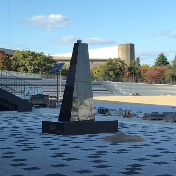 Black Granite Base for Glory Awaiting Installation of Sculpture in March 2020